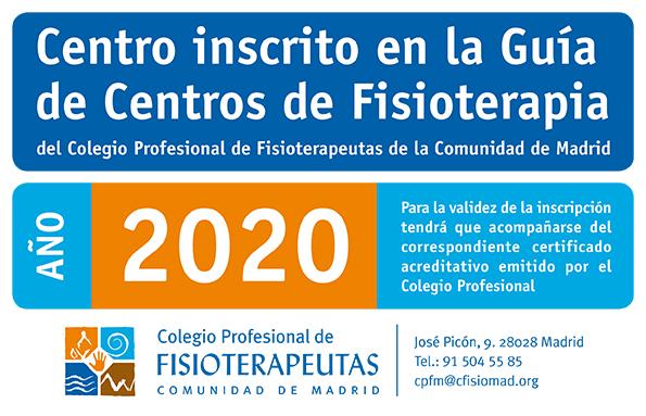Centro inscrito en el Colegio de Fisioterapeutas con el registro de centro sanitario 10455.